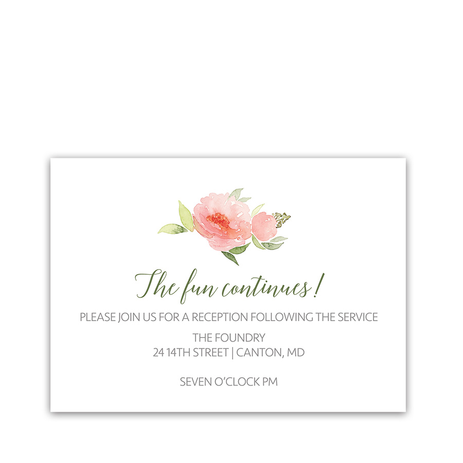 Watercolor Floral Bohemian Wedding Reception Cards