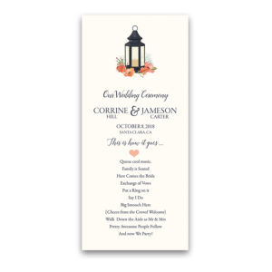 Metal Lantern Wedding Program Order of Service