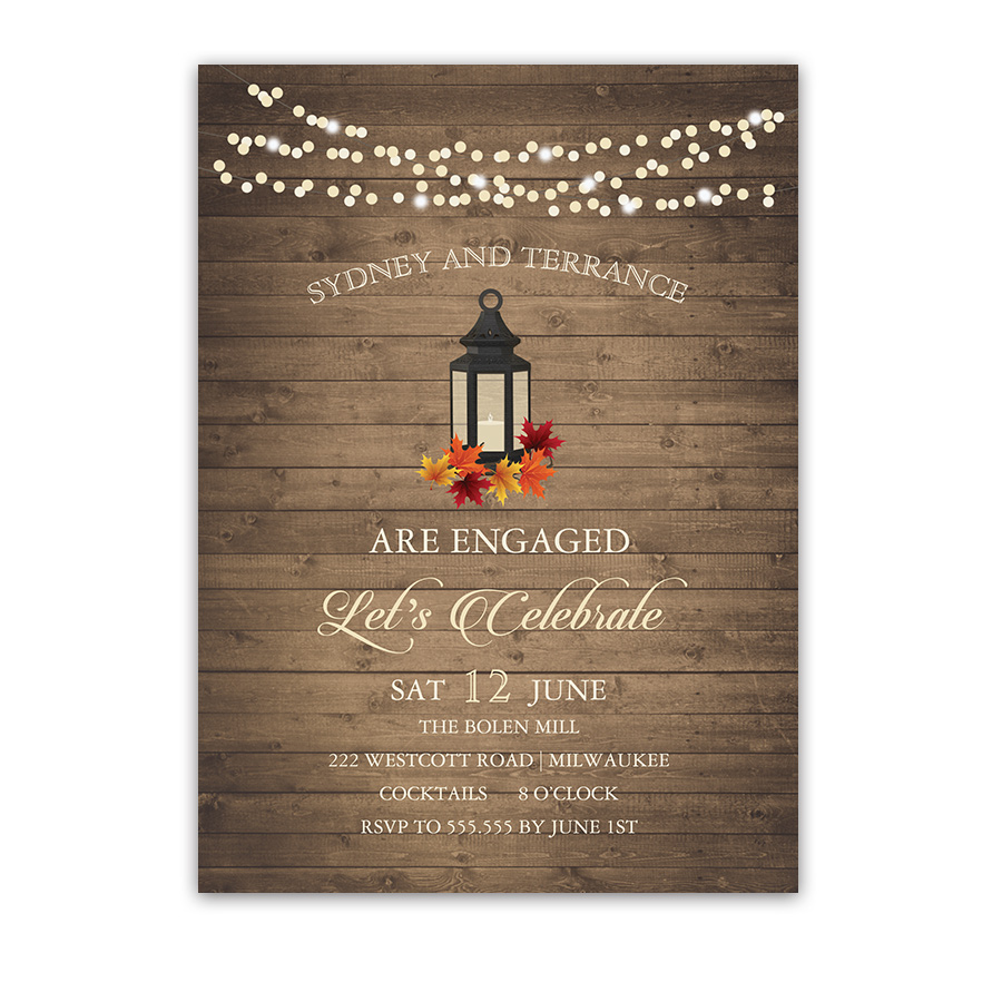 Rustic Chic Fall Leaves Lantern Engagement Party Invite