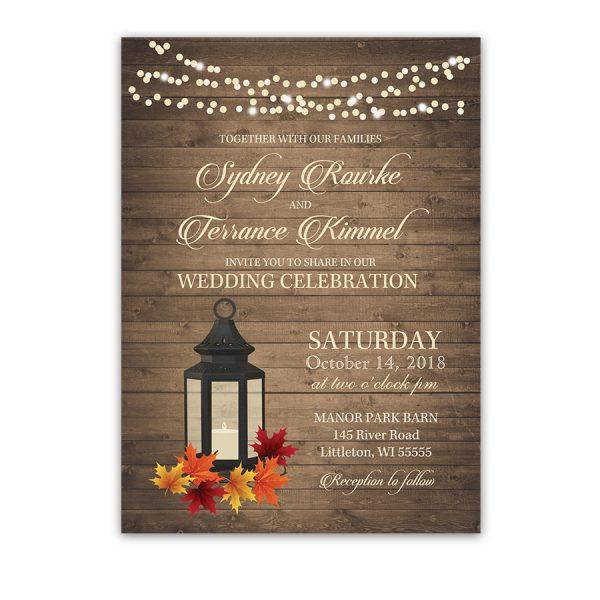 Rustic Fall Lantern Autumn Leaves Wedding Invitations