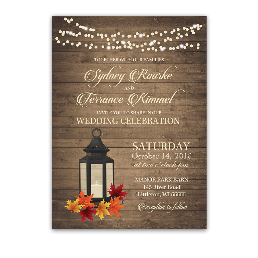 Rustic Fall Lantern Autumn Leaves Wedding Invitations
