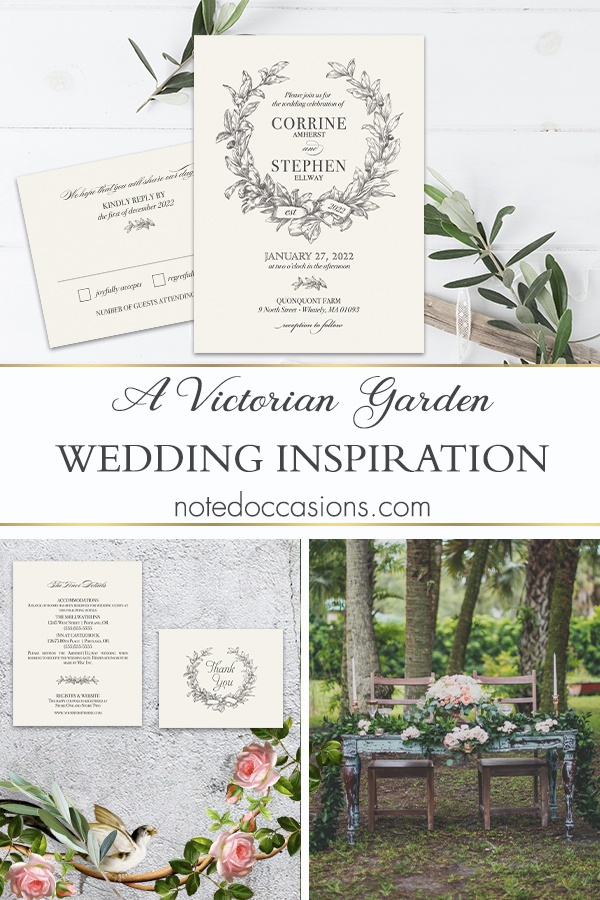 Wedding Invitation Set Vintage Garden Laurel Wreath