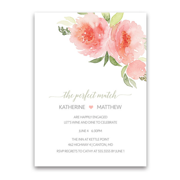 Coral Watercolor Floral Engagement Party Invitations