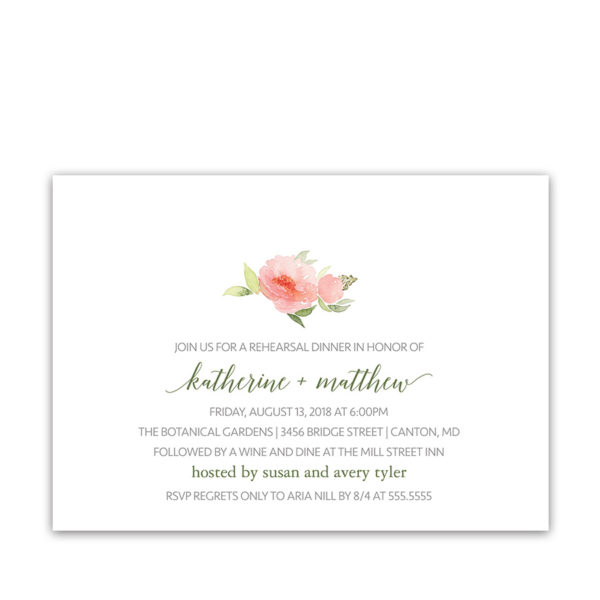 Watercolor Floral Wedding Rehearsal Dinner Invitations