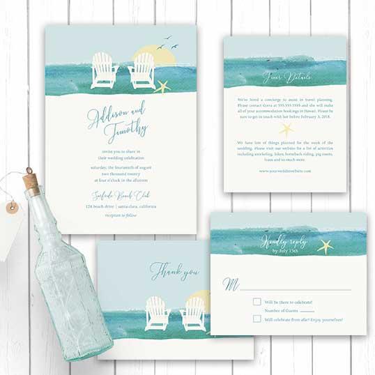 Wedding Invitations For Destination Wedding: Wedding Invitations Beach Chair Destination Weddings Template