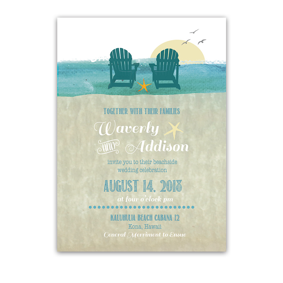 casual beach chairs destination wedding invitations
