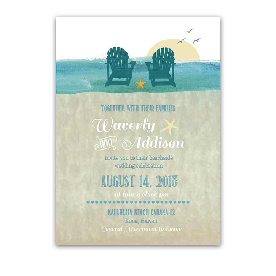 Casual Beach Chairs Destination Wedding Invitations