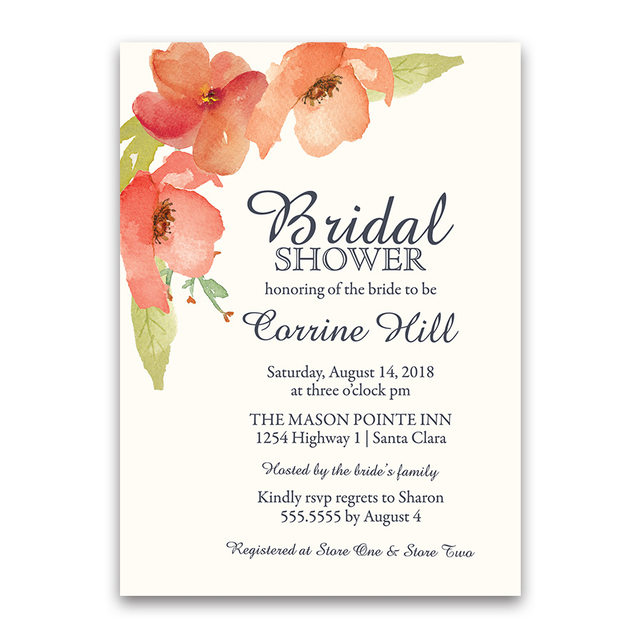 Watercolor Navy Blue Floral Bridal Shower Invitations
