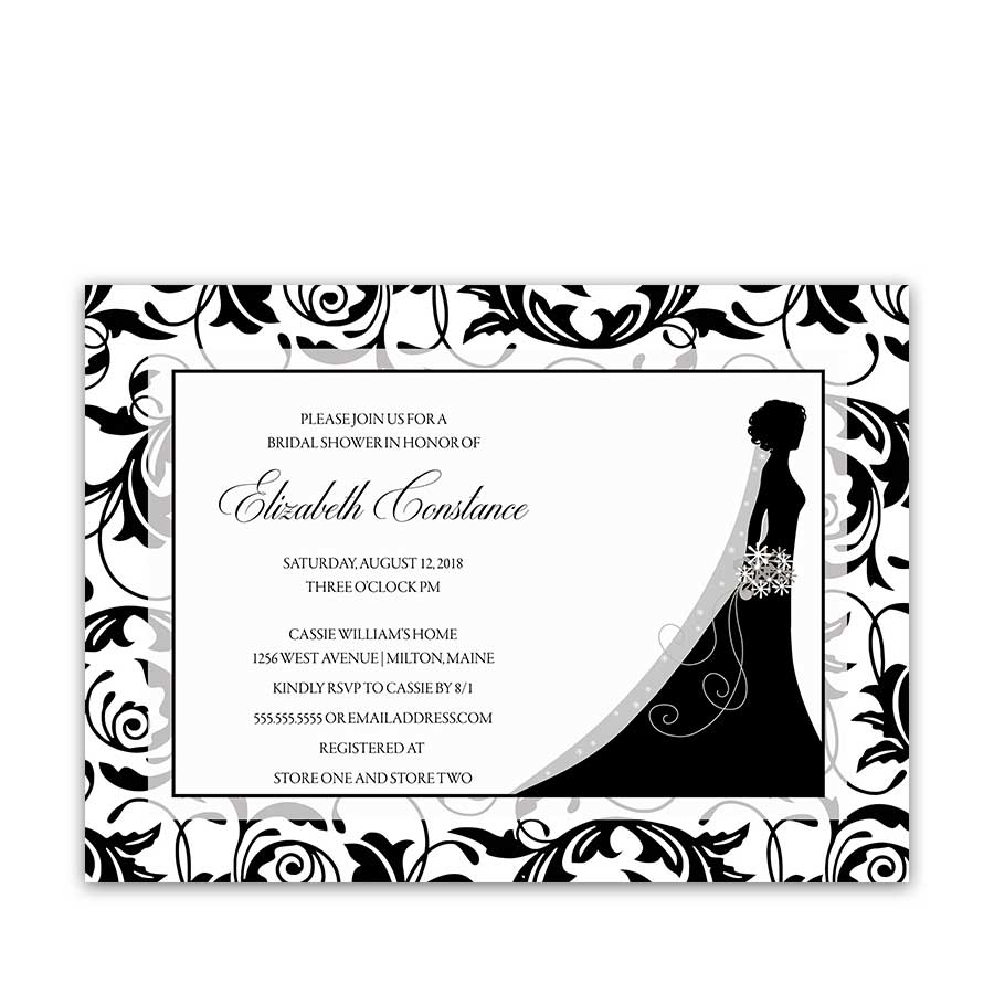 Damask Bridal Shower Invitations Bride Silhouette