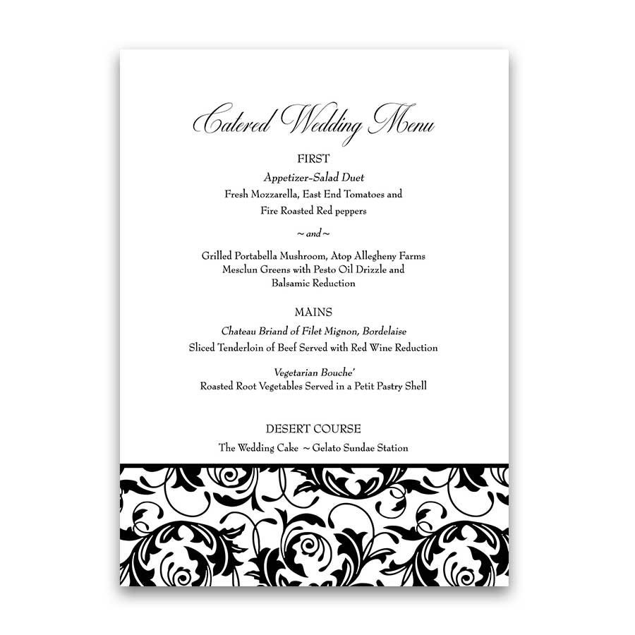 Damask Wedding Menu Template Black White Elegant Style