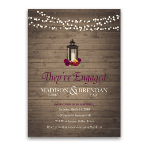 Fall Lantern Engagement Party Invitations Plum Florals