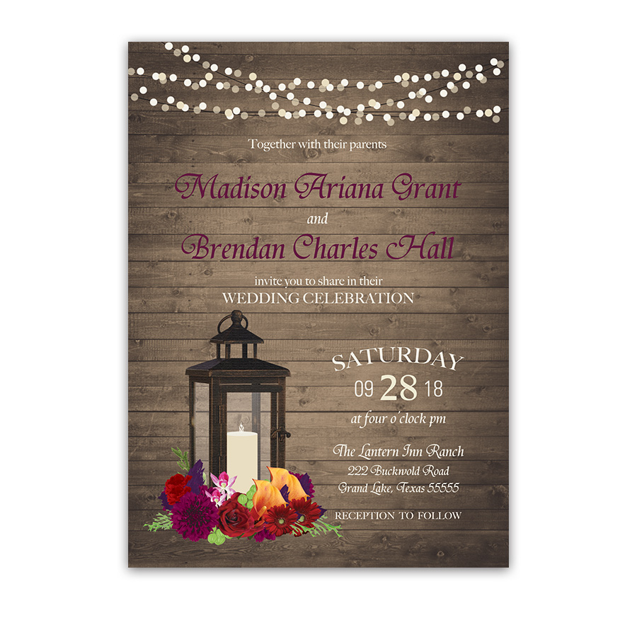 Fall Wedding Invitations Metal Lantern Plum Fall Florals