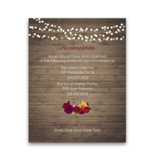 Plum Floral Wedding Guest Information Enclosure Cards
