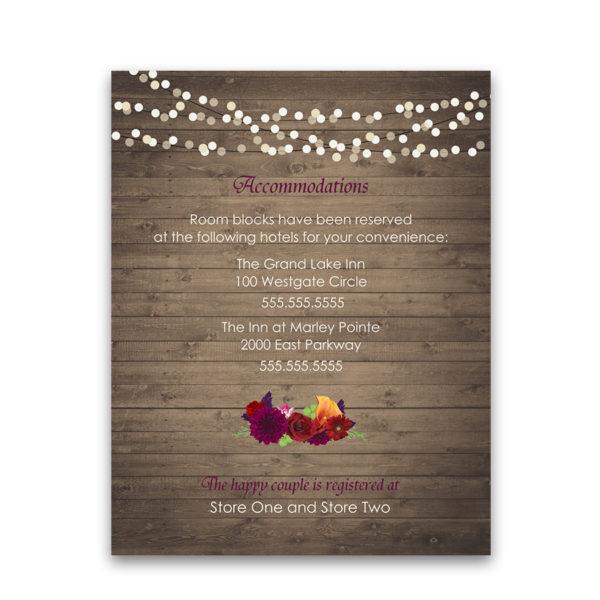 Plum Floral Wedding Guest Information Enclosure Cards
