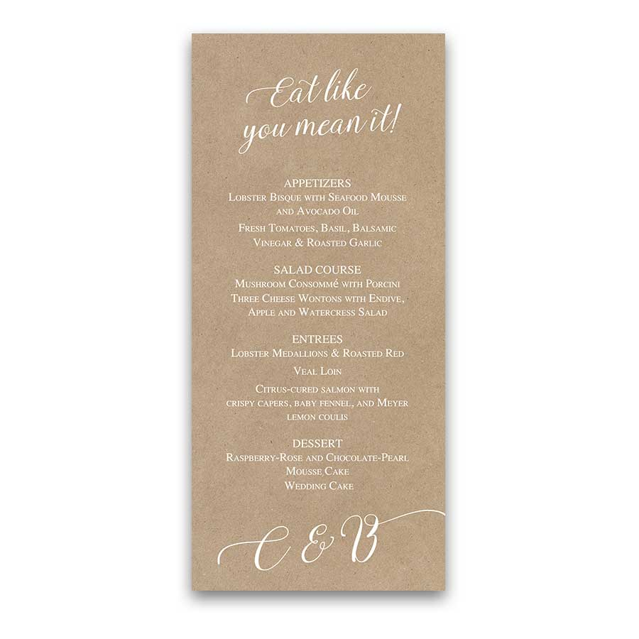 Fun Wedding Menus Creative Rustic Handwriting Design