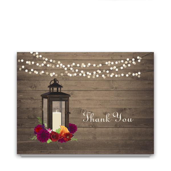 Rustic Fall Floral Lantern Wedding Thank You Cards