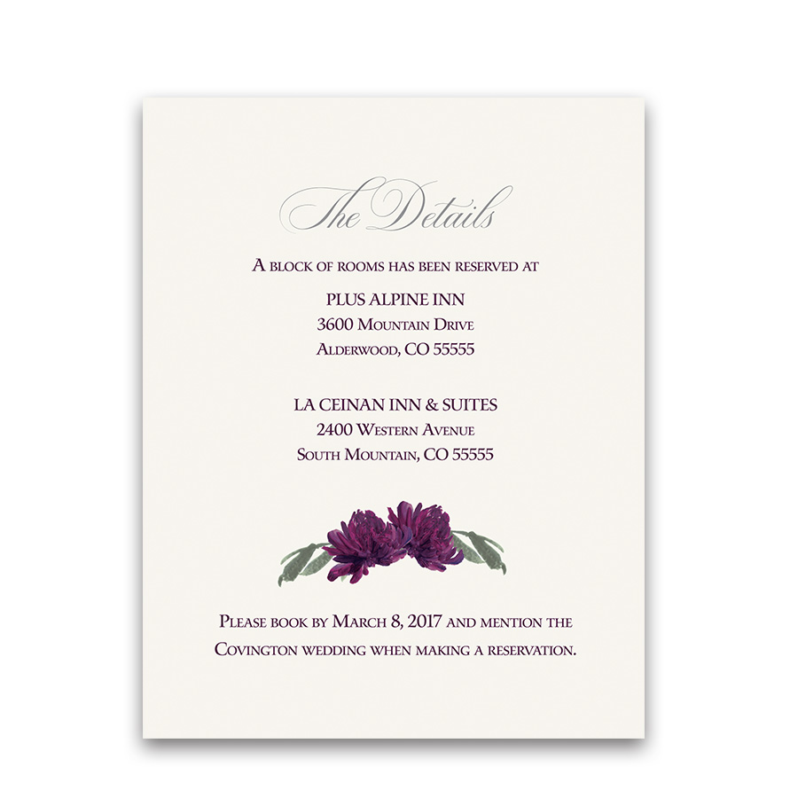 Floral Purple Burgundy Guest Information Cards