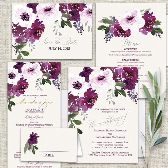 Watercolor Bohemian Floral Wedding Invitations