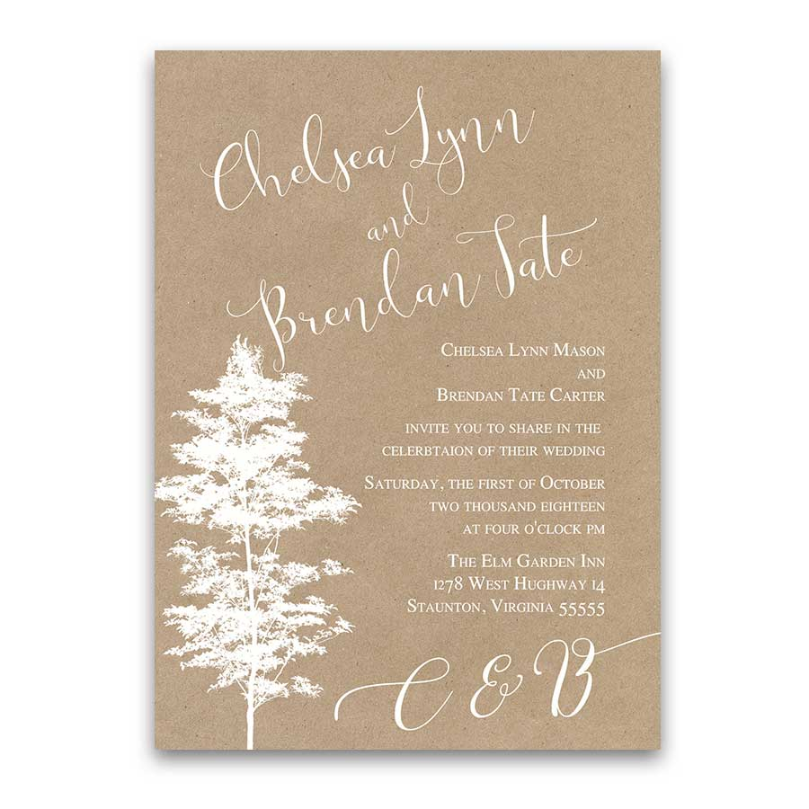 Wedding Invitations Kraft Paper Tree Silhouette Script