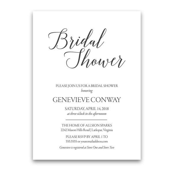 Modern Handwritten Script Bridal Shower Invitations