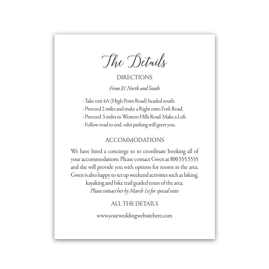 Modern Script Wedding Guest Information Insert Cards