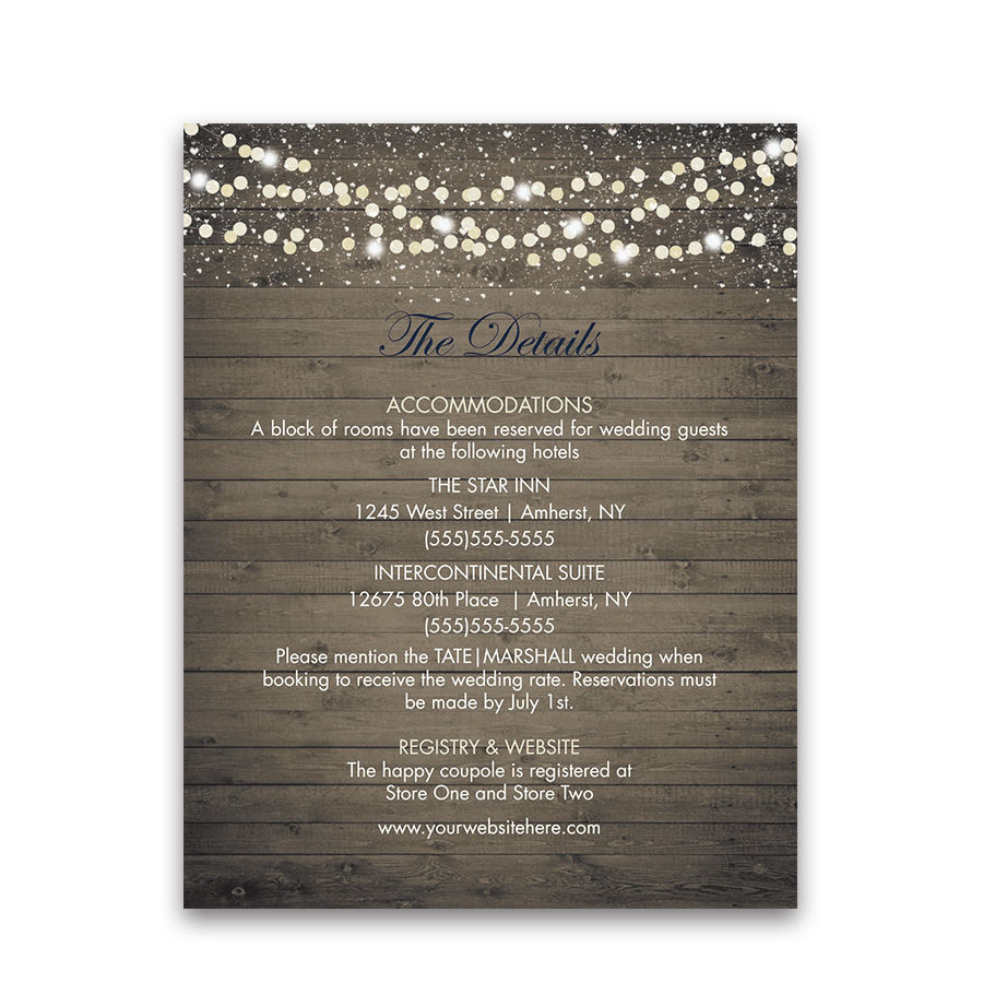 Winery Vineyard Wedding Information Enclosure Cards