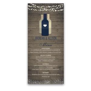 Rustic Wood Vineyard Wine Bottle Wedding Menu