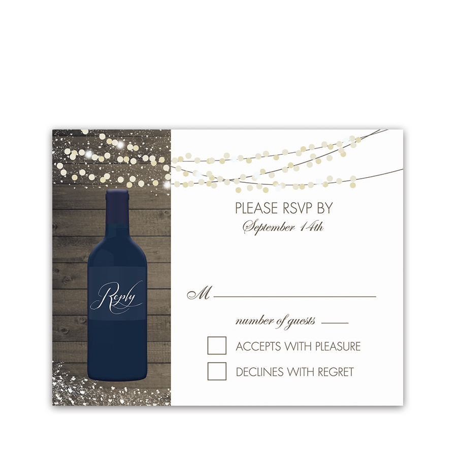 Vineyard Wedding Wine Bottle RSVP Cards