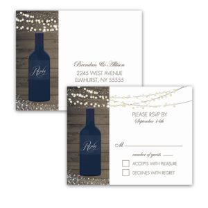 Vineyard Wedding Wine Bottle RSVP Postcards