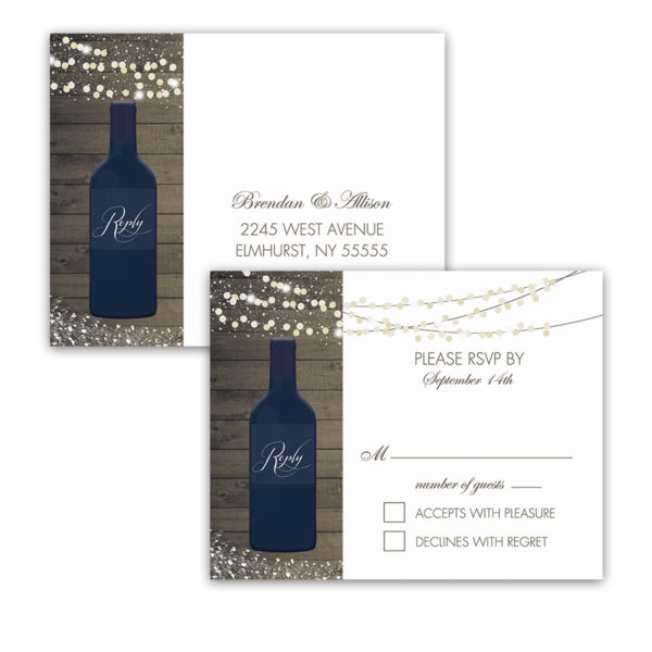 Vineyard Wedding Wine Bottle RSVP Postcards