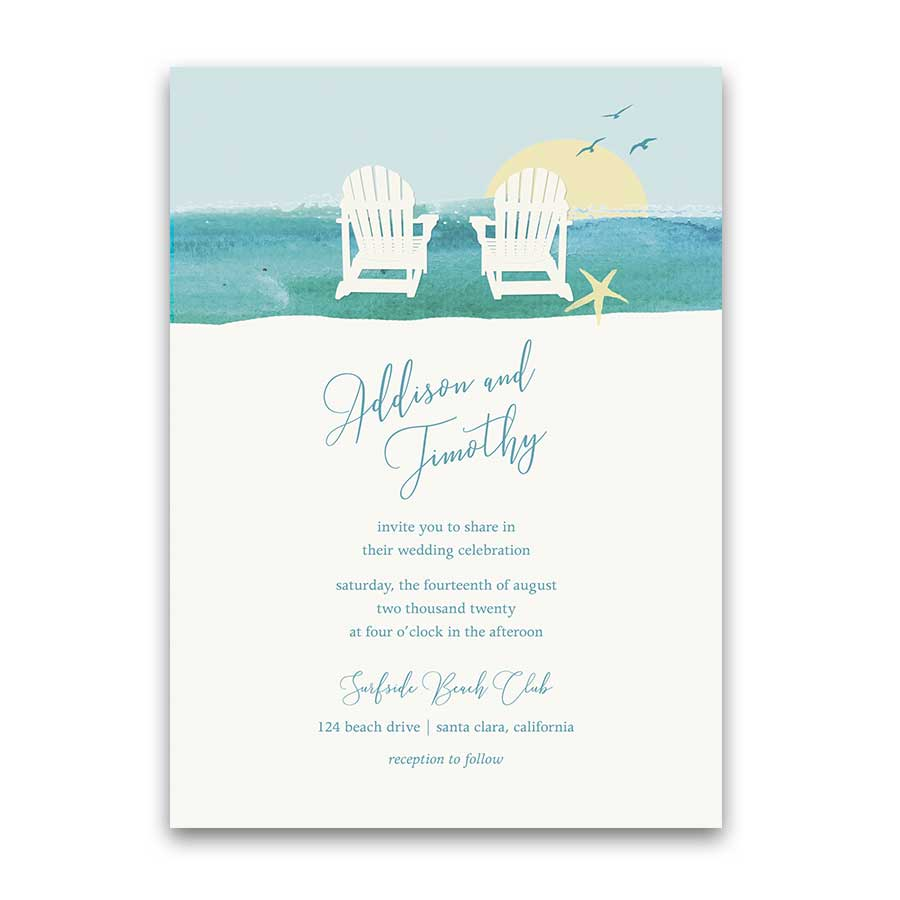 Wedding Invitations Beach Chair Destination Weddings Template