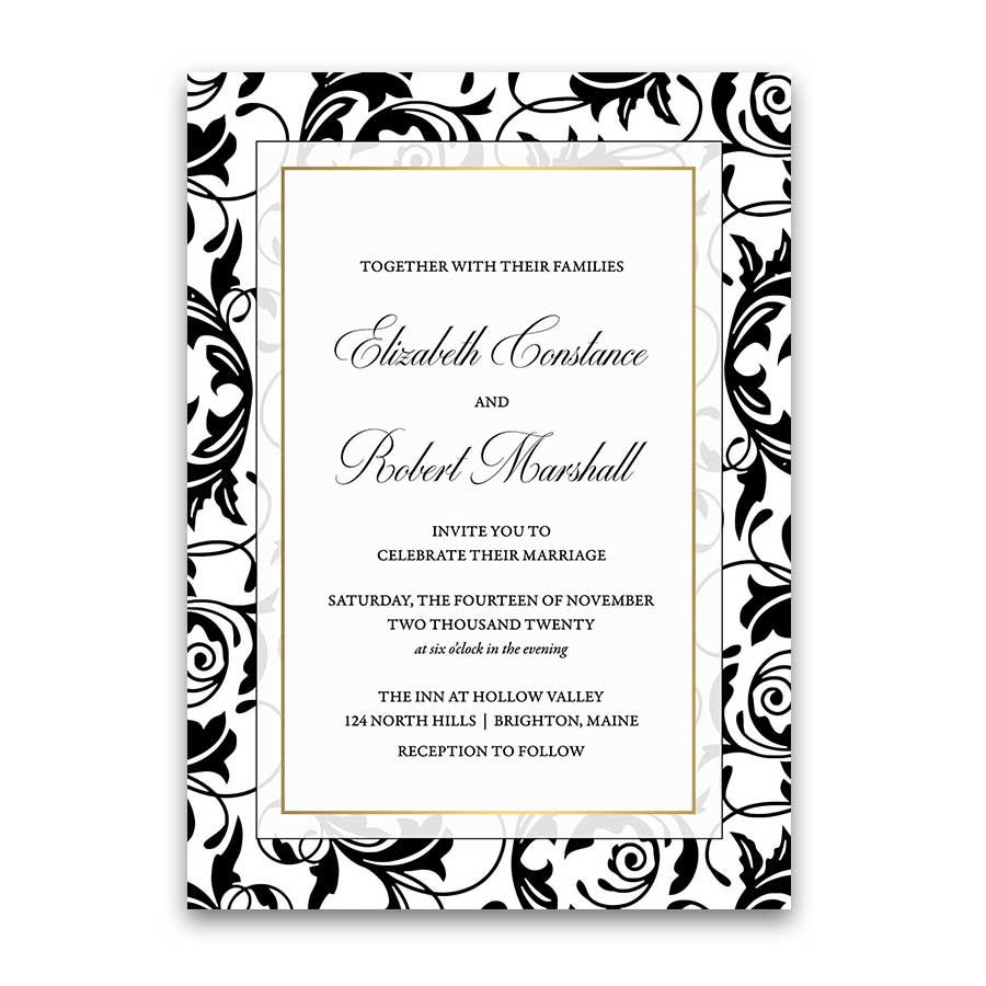 Damask Wedding Invitations Elegant Formal Black and White