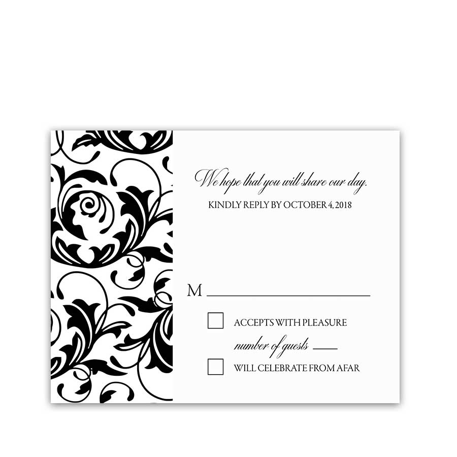 damask floral wedding black white rsvp response cards