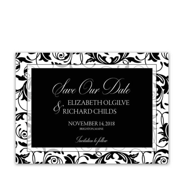 Damask Wedding Save the Date Cards Black White Swirls