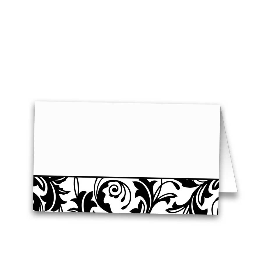 Damask Wedding Guest Escort Cards Black White