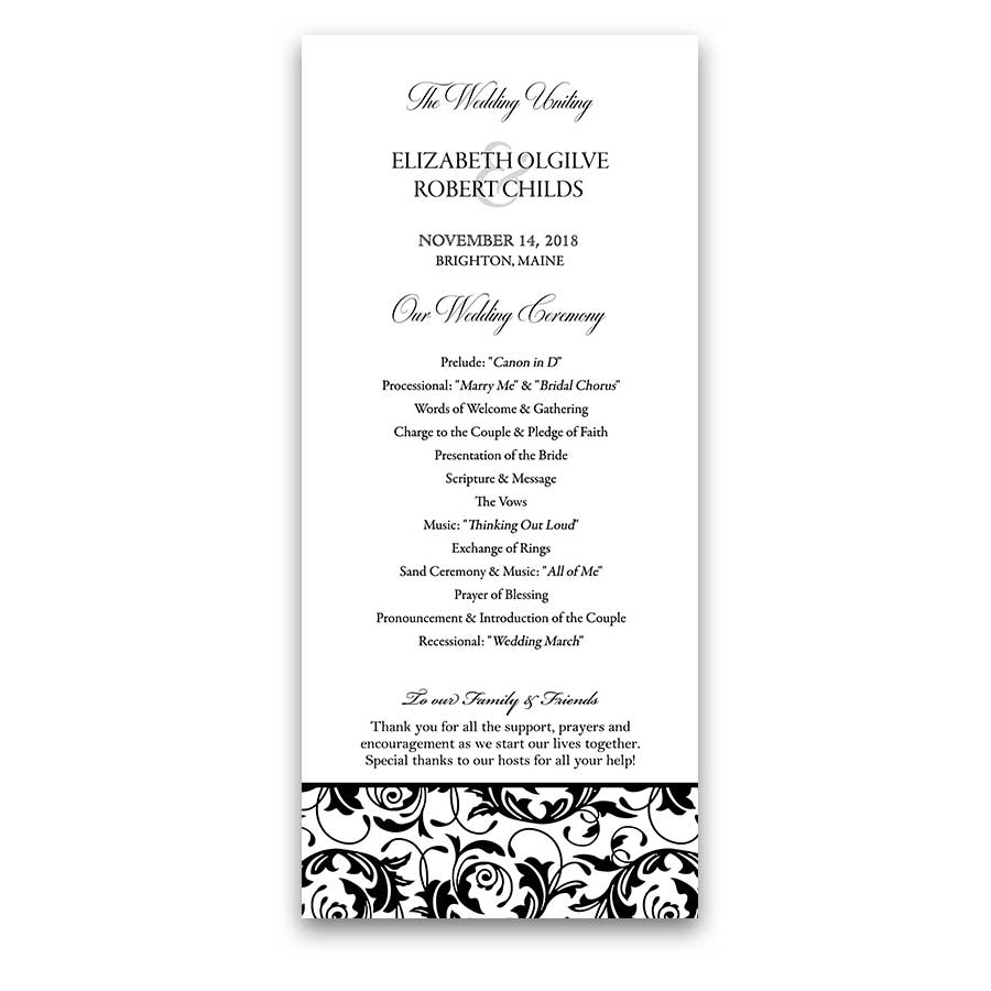 Custom Wedding Programs Black and White Damask