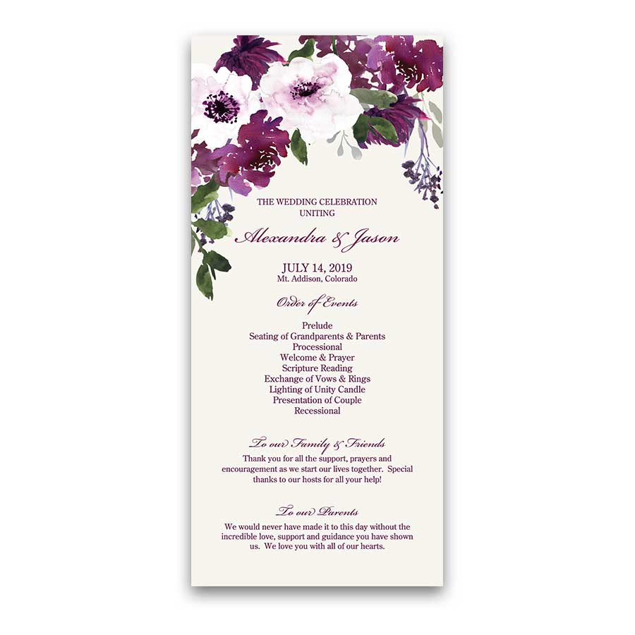 Eggplant Wedding Ideas Plum Floral Program Templates