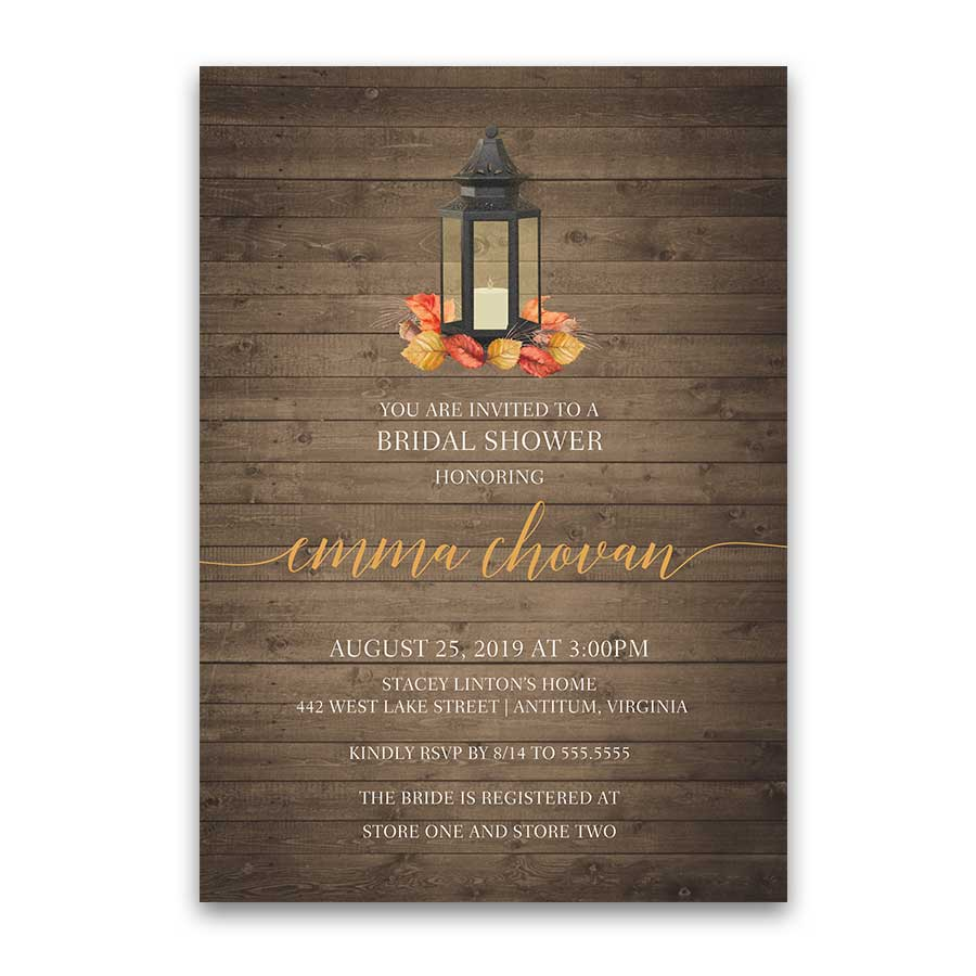 Fall Bridal Shower Invitations Metal Lantern Fall Leaves