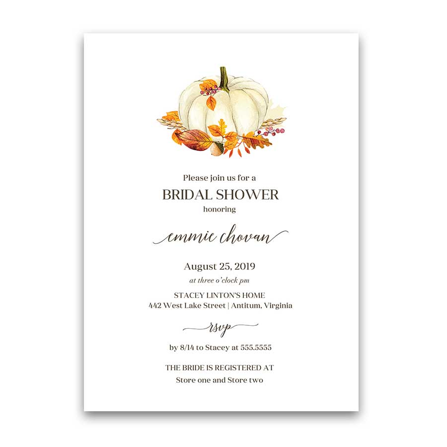 Fall Bridal Shower Invitation Pumpkin Colorful Autumn Leaves