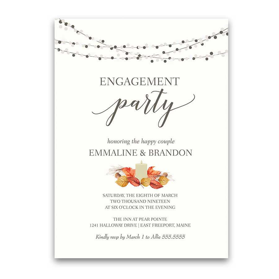 Fall Engagement Party Invitations Lantern Fall Leaves