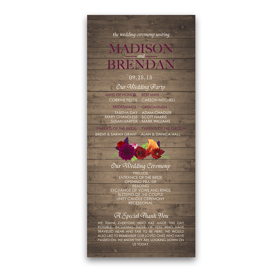 Rustic Fall Wedding Programs Purple Red Plum Florals