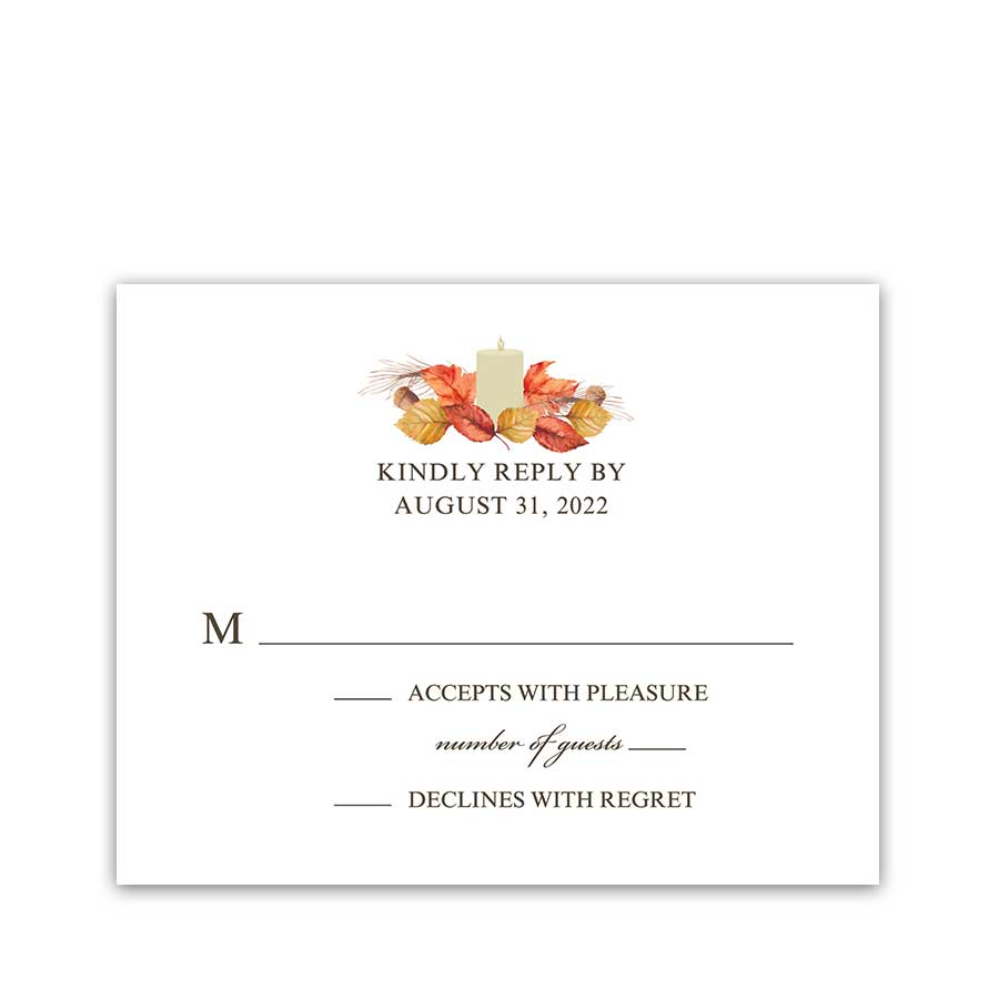 Fall Wedding RSVP Cards Autumn Leaves Rustic Styling