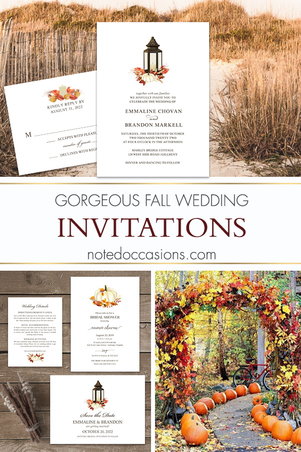 Fall Wedding Invitations Lantern Pumpkin Fall Leaves
