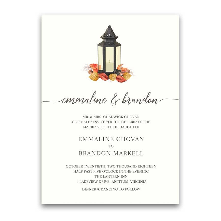 Fall Wedding Invitations Metal Lantern Fall Leaves
