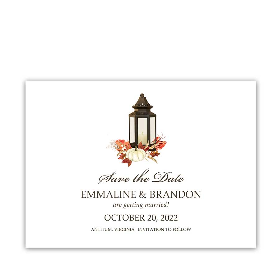 Fall Wedding Save the Date Card Lantern Fall Leaves