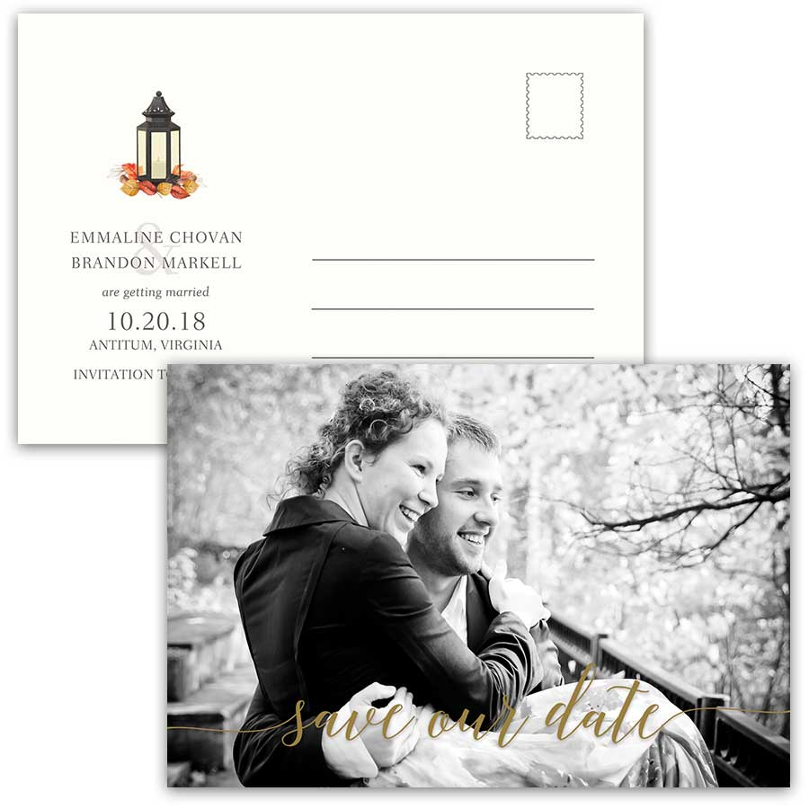 Fall Wedding Photo Save the Date Postcard Lantern