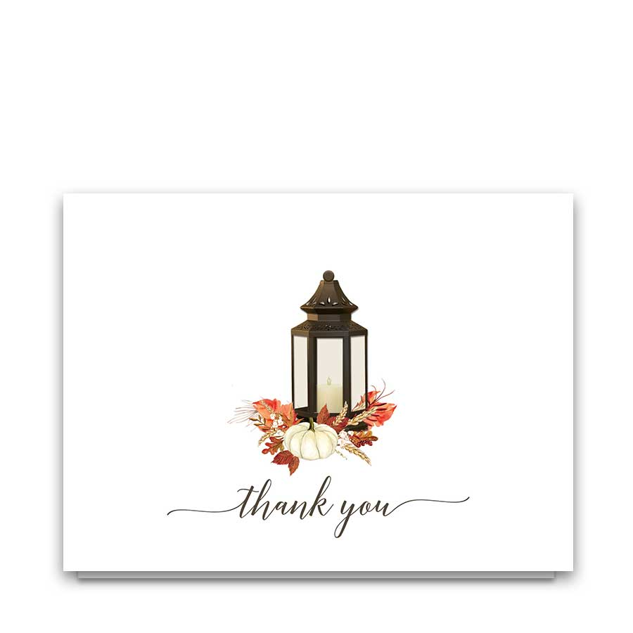 Fall Wedding Thank You Card Lantern Fall Leaves Pumpkin
