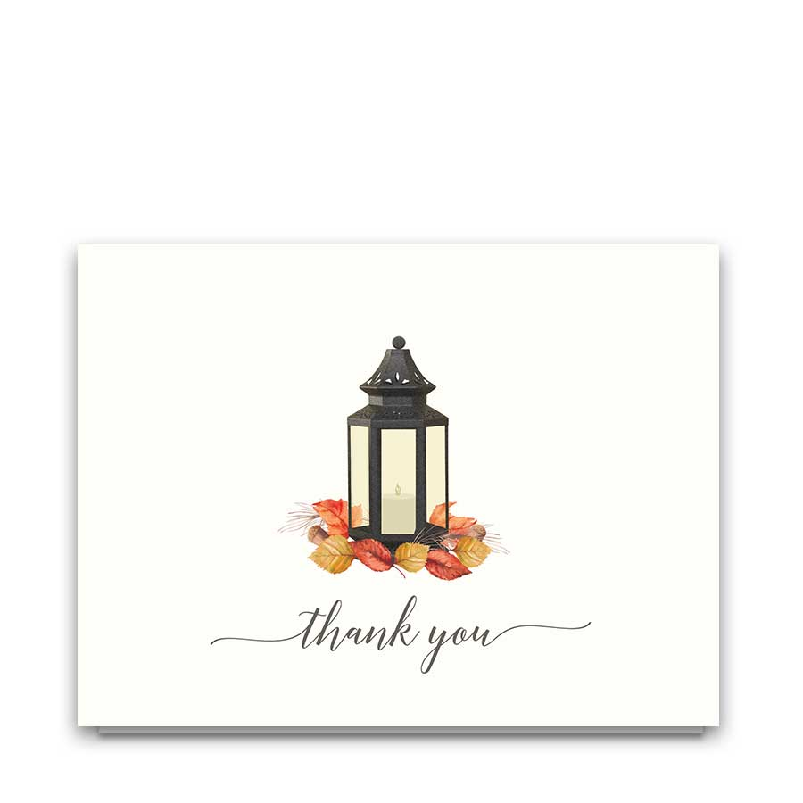 Wedding Thank You Cards Rustic Fall Leaves Lantern