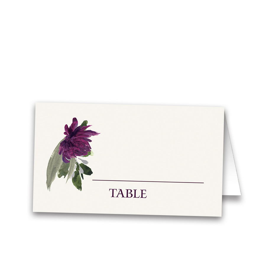 Burgundy Purple Floral Wedding Escort Seating Cards