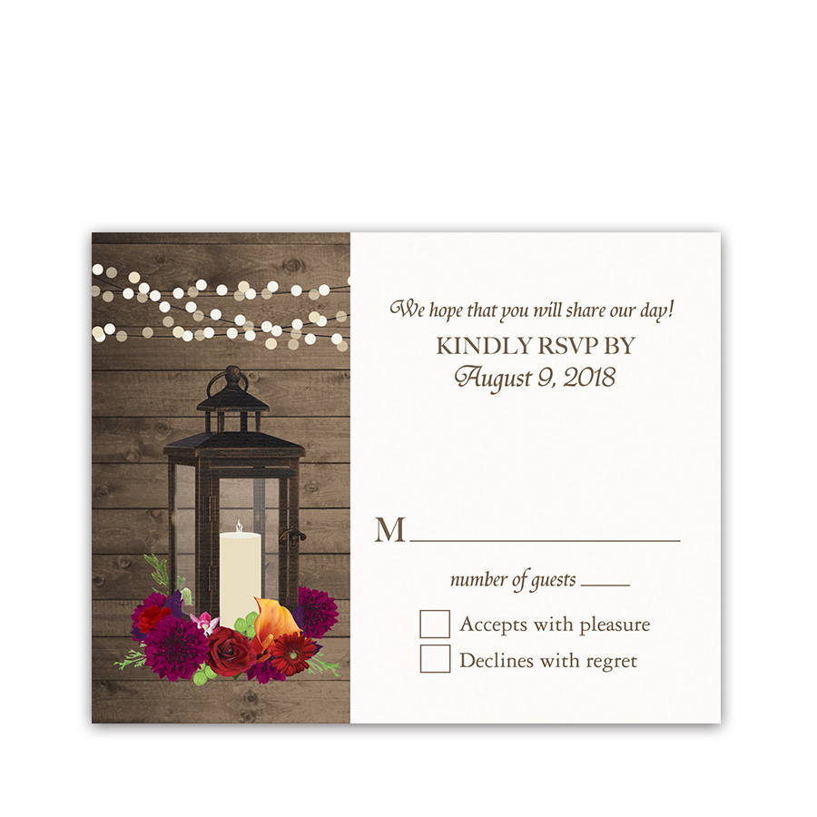 Fall Wedding RSVP Cards Metal Lantern Plum Florals